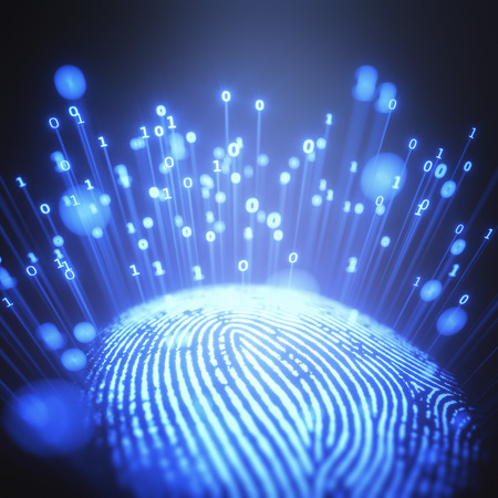3D illustration. Fingerprint emitting binary codes.