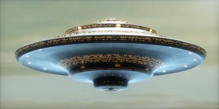 Ilustración 3D. Nave espacial extranjera con el camino de recortes incluido.