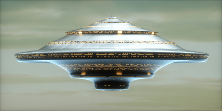 3D illustration. Alien spaceship with clipping path included.