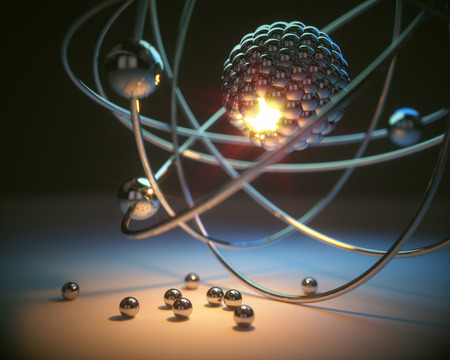 3D illustration. Concept image of a nuclear atomic model with nuclear fusion. Stock Photo