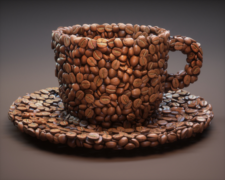 Roasted cup shaped coffee beans with clipping path, easy to crop from the background. Stock Photo