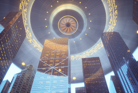 3D illustration. Space alien ship UFO, over skyscrapers. Conceptual image of ufology.