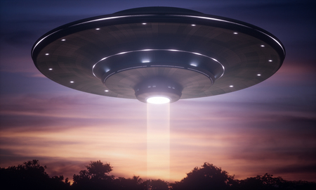 3D illustration. Spacecraft alien floating over the trees with tractor beam. Stock Photo