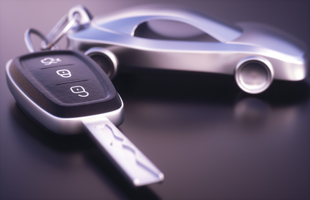 3D illustration. Car key with, metal car key holder.