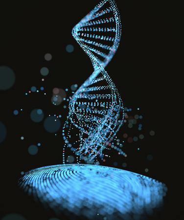 Ilustración 3D. ADN del código genético que sale de la huella digital.