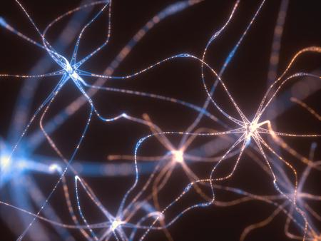 전기 펄스와 상호 연결 된 뉴런의 3D 일러스트 레이 션. 스톡 콘텐츠