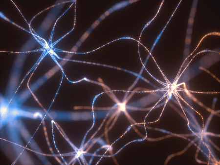 3D illustration of Interconnected neurons with electrical pulses. Zdjęcie Seryjne - 91718369