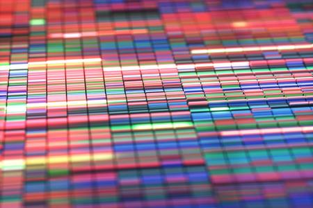 3D-afbeelding van een methode voor het kleuren van DNA-sequenties.