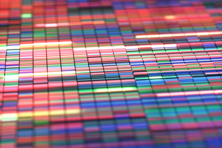 3D Illustration of a method of colored DNA sequencing.