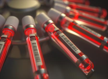 Ilustración 3D. Centrifugar la máquina de sangre. Prueba química, líquido rojo brillante dentro de los tubos de ensayo.