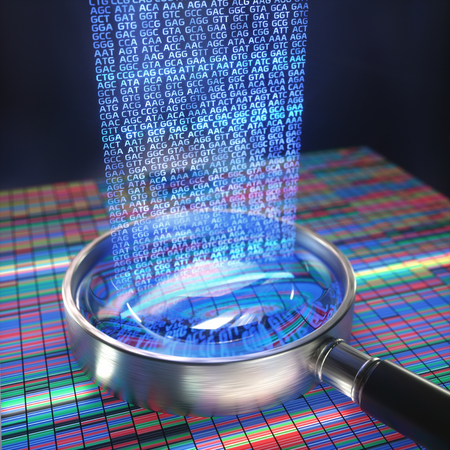 3D illustration. DNA Sanger Sequencing and a Magnifying Glass Showing the DNA codes. Stockfoto