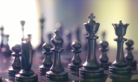 3D illustration. Pieces of chess game, image with shallow depth of field.