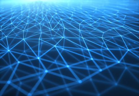 3D illustration of connections and dots representing the concept of cloud computing. Stock Photo