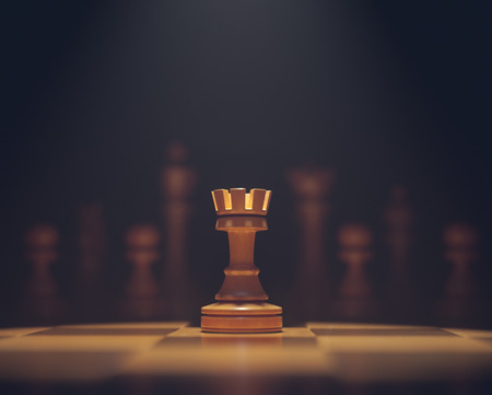 The rook in highlight. Pieces of chess game, image with shallow depth of field.