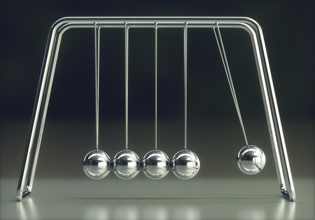 3D illustration of Newtons cradle, concept of conservation of momentum and energy. Stok Fotoğraf