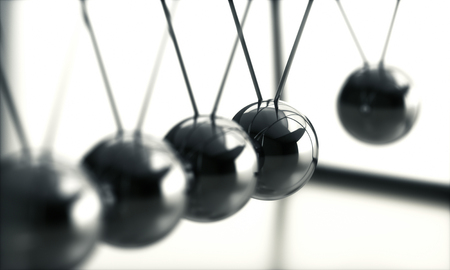 3D illustration of Newtons cradle, concept of conservation of momentum and energy. Stock Photo