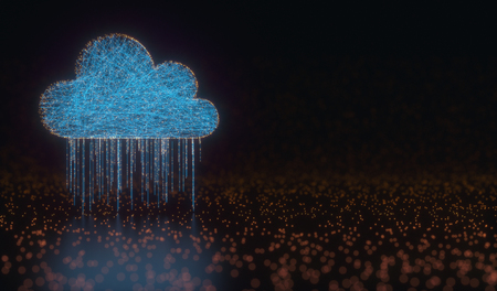 3D illustration. Image concept of cloud computing. Connections between points forming a cloud. Data rain. Stock Photo