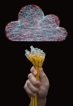 3D illustration. Image concept of cloud computing. Connections between points forming a cloud.