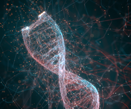 3D illustration. Colorful DNA molecule. Concept image of a structure of the genetic code.