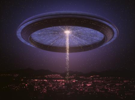 3D illustration. Space alien ship UFO over the city. Conceptual image of ufology.