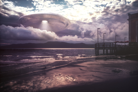 UFO arriving on beach vacation. Alien spacecraft coming out of the clouds over the sea. Stock Photo