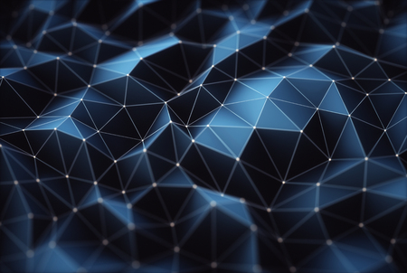 3D illustration. Abstract image, connections in lines and geometric shapes. Concept of technology for use as background. Stock Photo