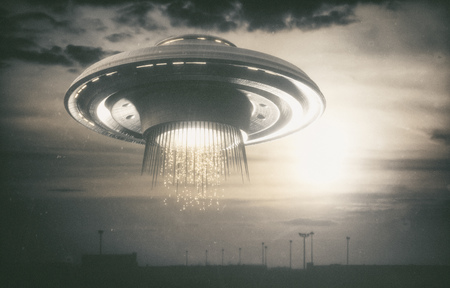 Old UFO picture. Image concept of aliens. Rendering 3D over the real picture.