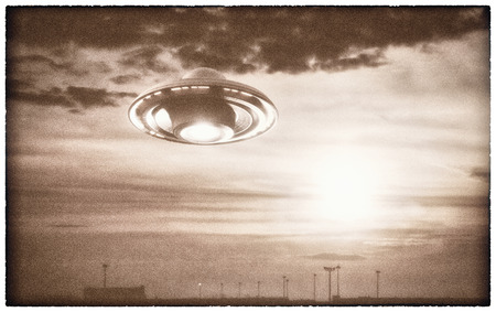 Old UFO picture. Image concept of aliens. Rendering 3D over the real picture. Clipping path of the photo frame included.
