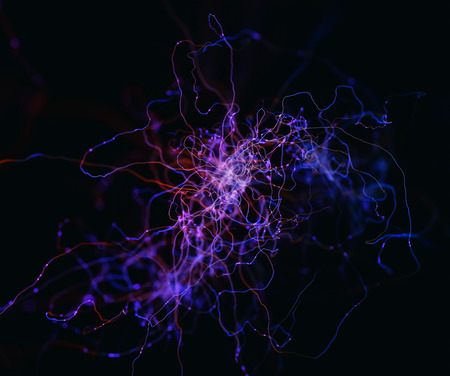3D illustration. Abstract neurons concept interconnected with electrical pulses.