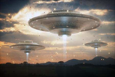 3D-Illustration. Invasion außerirdischer Raumschiffe. Himmel voller Mutterschiffe und kleiner Raumschiffe.
