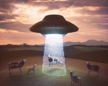 3D illustration. Cow on the farm being pulled by the tractor beam of the alien spacecraft. Stock Photo