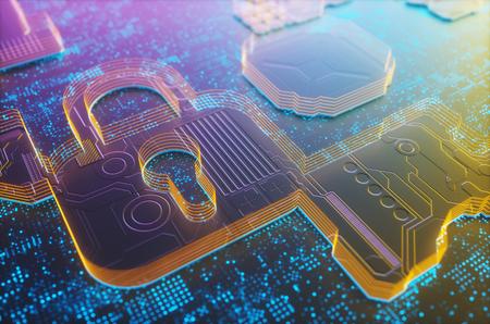 3D illustration. Digital embossed padlock, digital security image concept. Stock Photo