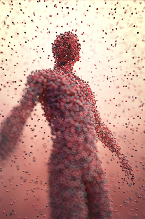 3D illustration. Human body shaped with colored molecules in a science concept image. Imagens