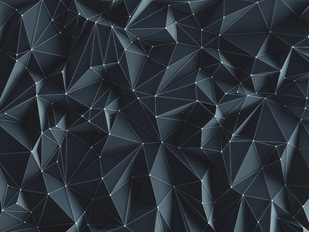 3D illustration. Abstract background image, connections in lines and geometric triangular shapes. Stock Photo
