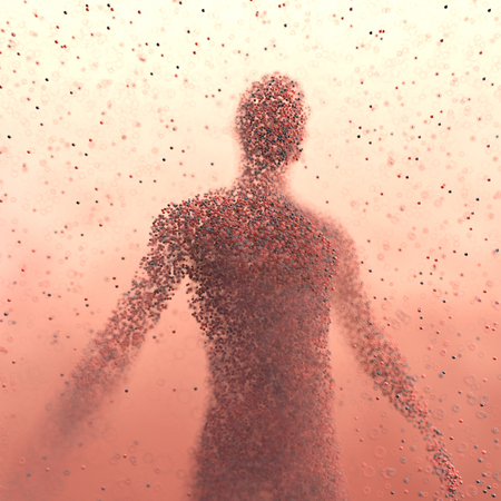 3D illustration. Human body shaped with colored molecules in a science concept image. Фото со стока