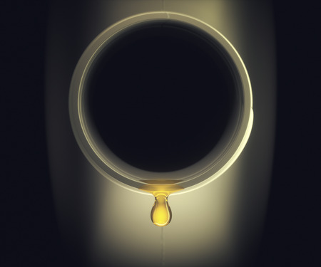 3D illustration. Last drop of oil falling from inside the container. Concept image of the oil industry and its refineries.