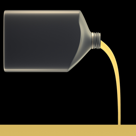 3D illustration. Pouring motor oil on black background and isolated with clipping path included.