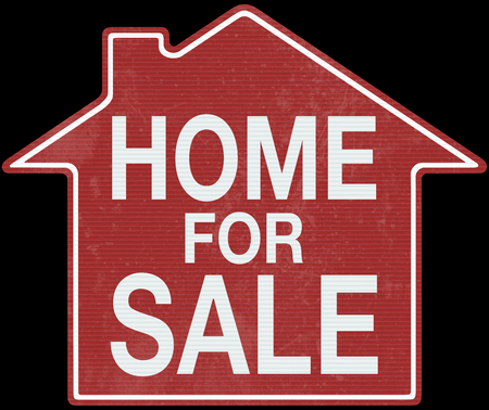 2D illustration. Sign of home for sale in red over black background. Clipping path included. Stock Photo