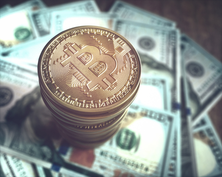 3D illustration. Bitcoin golden coin over a bunch of hundred dollar bills. Concept image of the market of cryptocurrency.