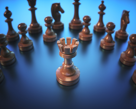 The Rook in highlight. Pieces of chess game, image with shallow depth of field. Stock Photo