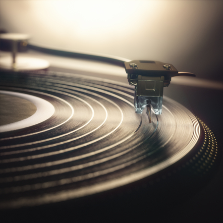 3D illustration. Vinyl record being played on old retro vintage disc jockey device.