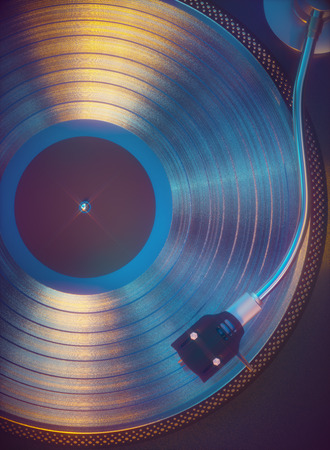 3D illustration. Colorful vinyl record from above. Retro music concept analog sound.
