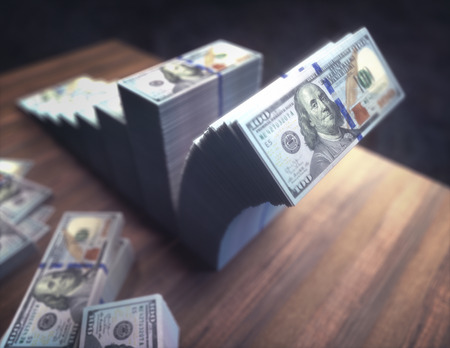 Stacks of dollars forming chart on the rise with the last pile crumbling.