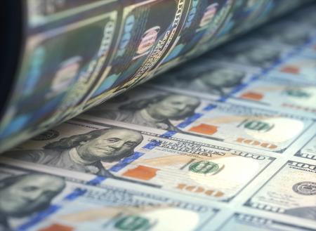 Printing US dollar bills.