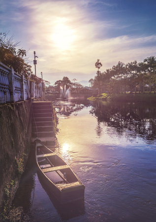 Morretes, Parana, Brazil - July 28, 2018: Nhundiaquara River (with the sun at 16:07:48), located in the Serra do Mar, on the coast of Paraná.