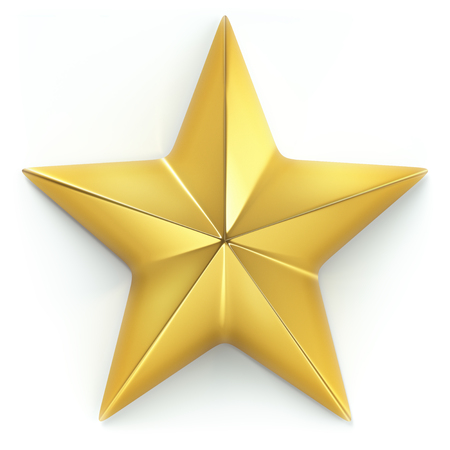 3D illustration. Gold star on white background with light shadow. Clipping path included.