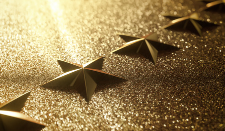 3D illustration. Golden stars in high relief. Concept of good qualification.