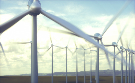 Wind farms in wind power generation. Mechanical energy being transformed into electrical energy. Standard-Bild - 109148417