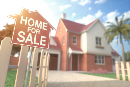 Home for sale, real estate sign in front of beautiful house with beam of sunlight coming from the background. Home business and finance concept.