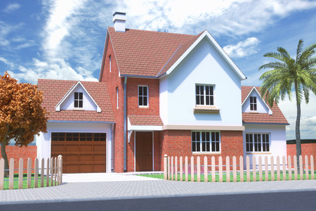 3D illustration of a house on a sunny day with blue sky and some clouds. Stock Photo